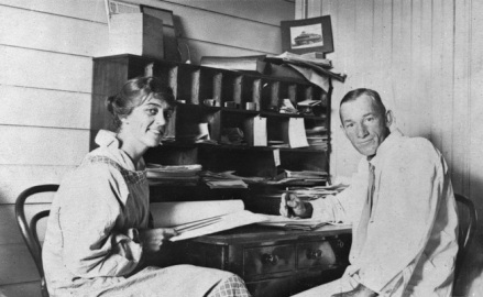 Beatrice Hutton with a colleague.