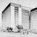 Architectural drawing of a tall modern building.