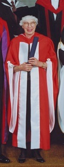 Margaret Feilman in academic robes.